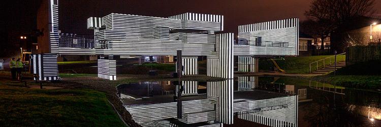 Apollo Pavilion al completo mostrando un videomapping con tecnología impulsada por Panasonic